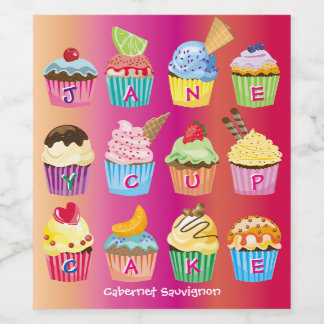 Create Your Own Cupcake Monogram Delicious Treats Wine Label