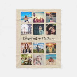 Create Your Own Custom 12 Photo Collage Instagram Fleece Blanket