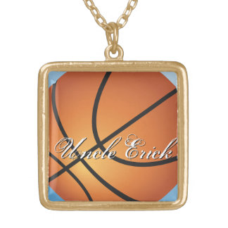Create your Own Custom Monogram Basketball Gold Plated Necklace