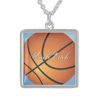 Create your Own Custom Monogram Basketball Sterling Silver Necklace