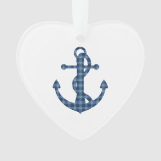 Create your own custom | Plaid tartan blue anchor Ornament