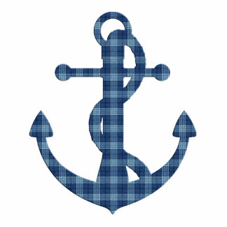 Create your own custom | Plaid tartan blue anchor Photo Sculpture Key Ring