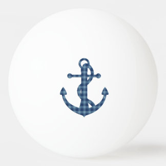 Create your own custom | Plaid tartan blue anchor Ping Pong Ball