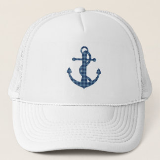 Create your own custom | Plaid tartan blue anchor Trucker Hat