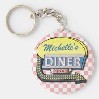 Create Your Own Custom Retro 50's Diner Sign 2 Basic Round Button Key Ring