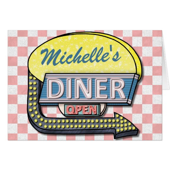 Create Your Own Custom Retro 50's Diner Sign 2 Card