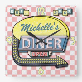 Create Your Own Custom Retro 50's Diner Sign 3 Square Wall Clock