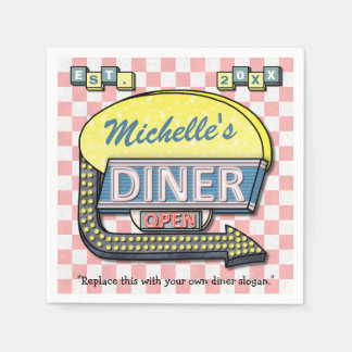 Create Your Own Custom Retro 50's Diner Sign Paper Napkin