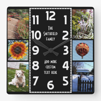 Create Your Own Deco 6 Photo Collage Black-White Square Wall Clock