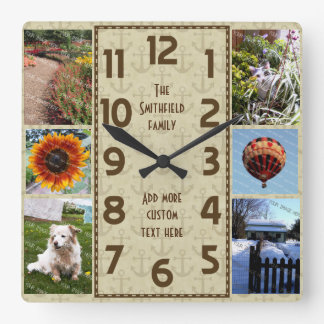 Create Your Own Deco 6 Photo Collage Brown Anchors Square Wall Clock