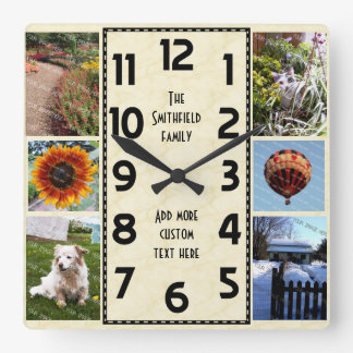 Create Your Own Deco 6 Photo Collage Marbled Clock