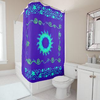 Create your own elegant Royal blue classic floral Shower Curtain