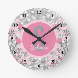 Create Your Own Girls Name | Floral Pink Silver Round Clock