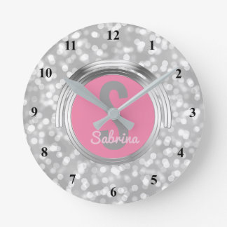 Create Your Own Girls Name | Pink Silver Glitter Wall Clock