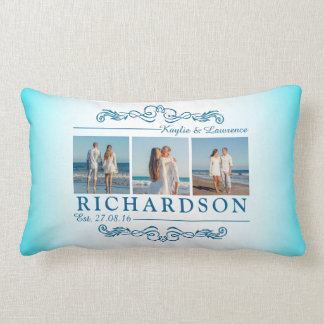 Create Your Own Instagram Beach Wedding Monogram Lumbar Cushion