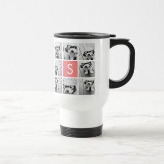 Create Your Own Instagram Collage Custom Monogram Stainless Steel Travel Mug