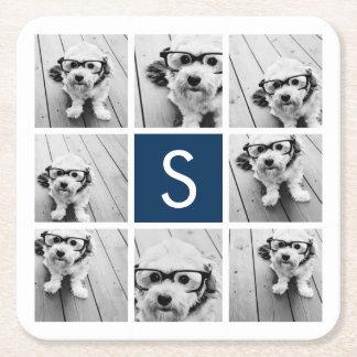 Create Your Own Instagram Collage Custom Monogram Square Paper Coaster