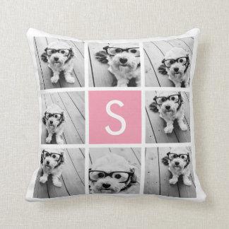 Create Your Own Instagram Collage Custom Monogram Throw Cushion