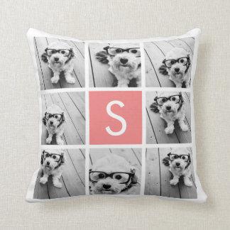 Create Your Own Instagram Collage Custom Monogram Throw Pillow