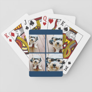 Create Your Own Instagram Collage Navy 4 Pictures Playing Cards