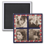 Create Your Own Instagram Photos Cute Red Hearts Square Magnet