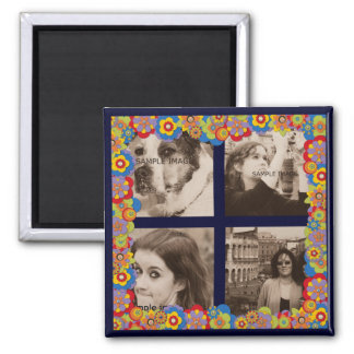 Create Your Own Instagram Photos Trippy Flowers Magnet