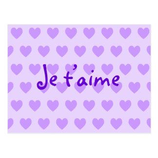 Create Your Own Je T'aime Purple Hearts Postcard