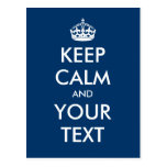 "Create your own ""Keep Calm and Carry On"" (blue) Post Cards"