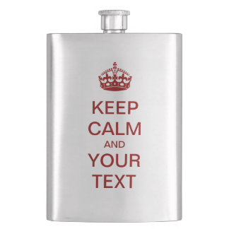 "Create Your Own ""KEEP CALM"" Flask! (dark red) Hip Flask"