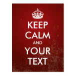 "Create your own ""Keep Calm"" (red grunge) Postcards"