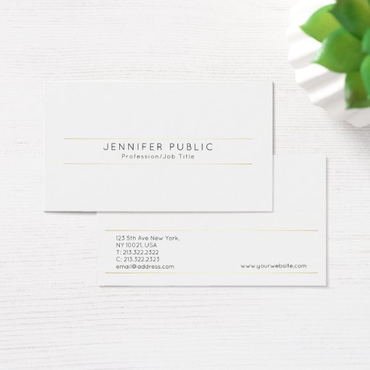 Create Your Own Modern Elegant Design White Gold Business Card