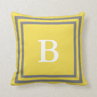 Create Your Own Monogram Grey and Yellow Pillow