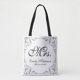 Create Your Own Mr Mrs His Hers Wedding Monogram Tote Bag