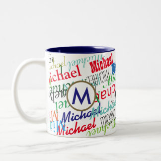 create your own name pattern color Two-Tone coffee mug