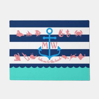 Create Your Own Nautical Summer Fun Anchor Stripes Doormat