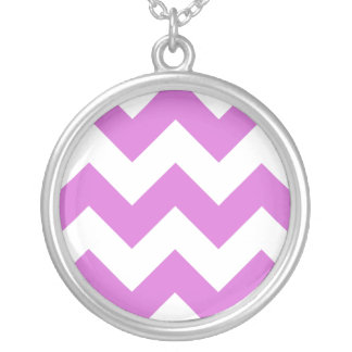Create Your Own Orchid Zigzag Pattern Round Pendant Necklace