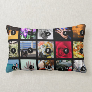 Create Your Own Photo album with 15 images Lumbar Pillow