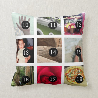 Create Your Own Photo album with 18 images Throw Pillow