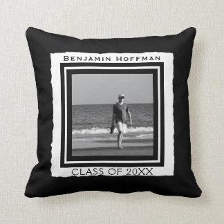 Create Your Own Photo | Black and White Graduation Throw Pillow