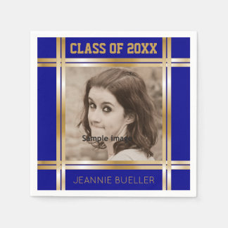 Create Your Own Photo Blue Gold Graduation Party Paper Napkins