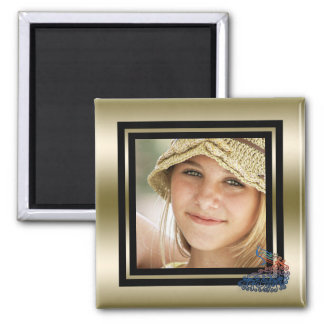 Create Your Own Photo Bright Peacock Gold Black Magnet