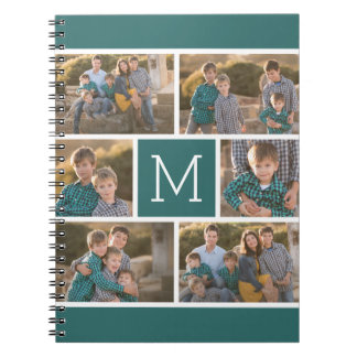 Create Your Own Photo Collage - 6 photos Monogram Spiral Notebook
