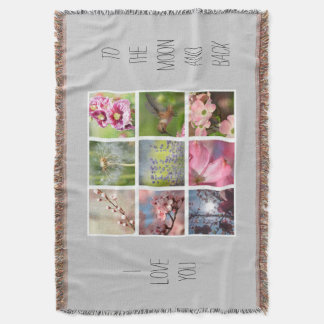 Create Your Own Photo Collage Moon and Back Throw Blanket