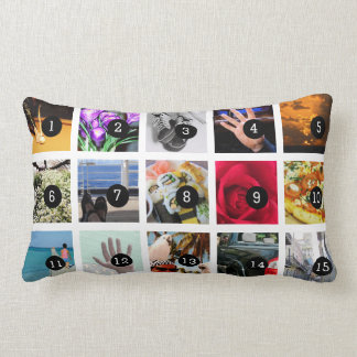 Create Your Own Photo collage with 15 images Lumbar Pillow