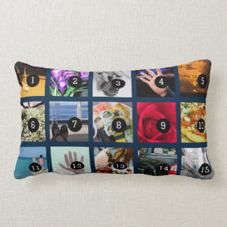 Create Your Own Photo display with 15 images Lumbar Pillow
