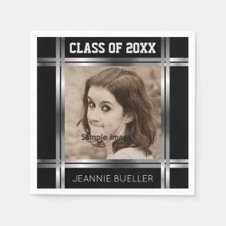 Create Your Own Photo Graduation | Black Silver Paper Serviettes