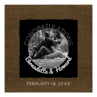 Create Your Own Photo Rustic Wedding Sign Poster
