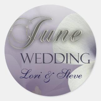Create your own purple June Wedding Round Sticker