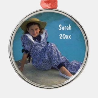 Create Your Own Round Photo Keepsake With Text Round Metal Christmas Ornament