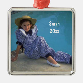 Create Your Own Square Photo Keepsake With Text Metal Ornament